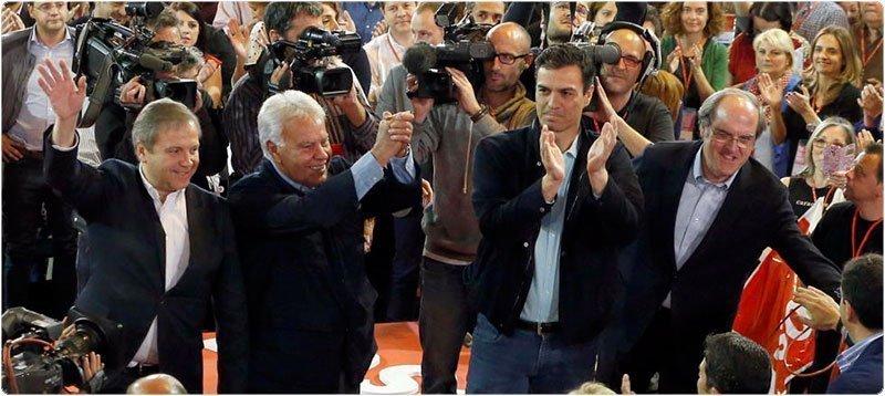 Carmona, González, Sánchez y Gabilondo, durante la conferencia municipal del PSOE de la pasada semana. (Efe)