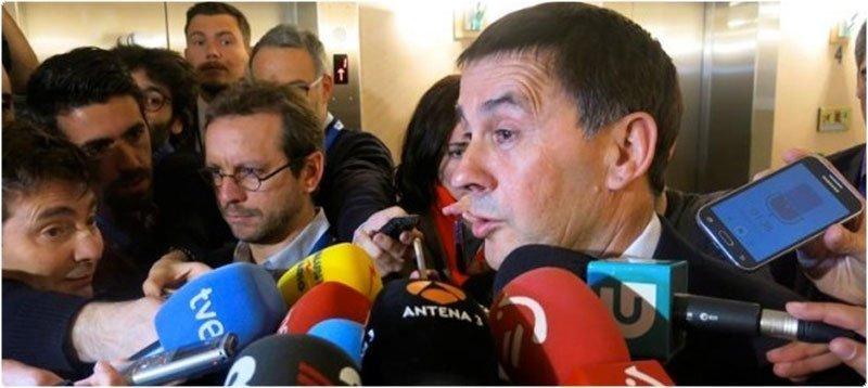 Otegi dirigiéndose a los medios a su llegada al Parlamento Europeo (EFE)