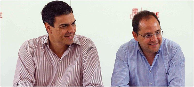 Pedro Sánchez y César Luena