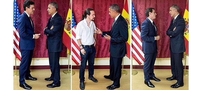 De izquierda a derecha, Obama con Sánchez, Iglesias y Rivera, el pasado domingo. Fuente: The White House