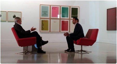 JCRI e Iñaki López durante la entevista en el MEIAC de Badajoz