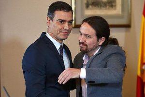 Pablo Iglesias y Pedro Sánchez anuncian que quieren gobernar juntos. Javier Barbancho