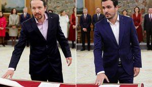 Pablo Iglesias y Alberto Garzón, en la toma de posesión de sus cargos. EFE/EUP