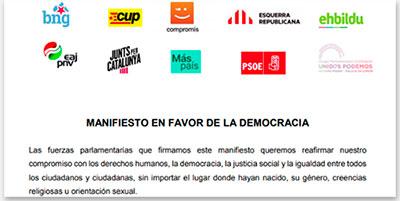 Cabecera del manifiesto en favor de la democracia