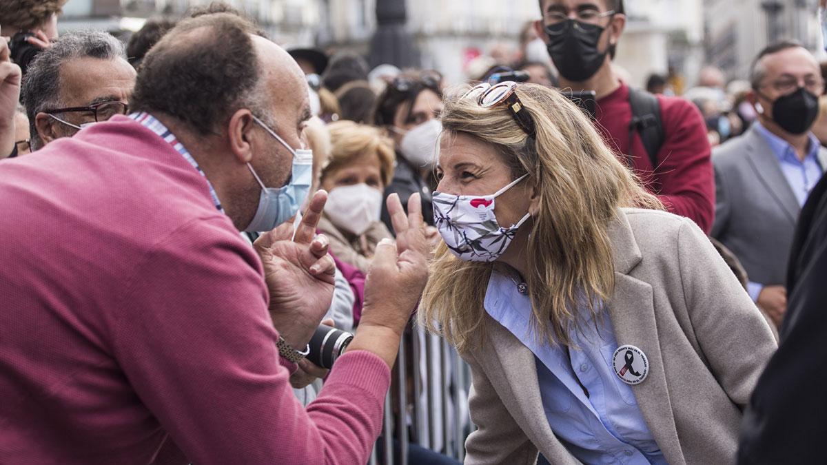 La ministra de Trabajo, Yolanda Díaz, participa manifestación con motivo del Día del Trabajador en Madrid, a 1 de mayo de 2021, en Madrid. Europa Press